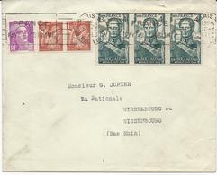 LETTRE 1950  AVEC 6 TIMBRES BUGEAUD / IRIS / GANDON - Marcophilie (Lettres)