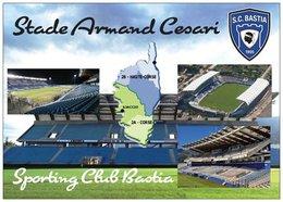 Stade De Football - Armand Césari - SC BASTIA -Carte Géographique De La Corse - Cpm - Vierge - - Soccer