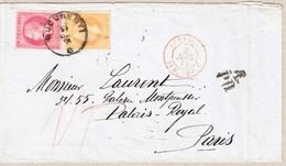 """1874 25 +50b. Auf Gefaltenem Brief; Bukarest-Paris, Posttaxe In Frankreich Aberkannt U. Mit """"25"""" Nachgefordert - 1858-1880 Moldavie & Principauté"""