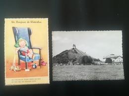 UN BONJOUR DE WATERLOO BRABANT WALLON BELGIQUE CARTE POSTALE À DOS NON DIVISÉ CARTE À SYSTÈME CIRCULEE + CP BUTTE LION - Waterloo