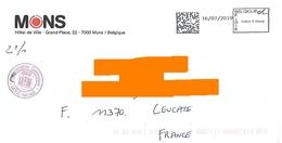 EMA Belge Belgique QR Code Sur Env Mairie Mons Hainaut - 2000-...