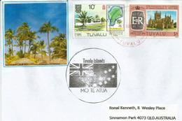 Letrre  Funafuti  Tuvalu, Avec Timbre Sur Timbre, Carte De L'atoll De Fongafale, Adressée En Australie - Tuvalu