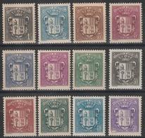 Année 1937 - 1943 - N° 47 à 53 - 55 - 57 à 60 - Armoiries - Lot De 12 Valeurs - Cote Neufs 16,10 € - Andorre Français