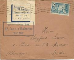 LETTRE 1937 POUR L'ALLEMAGNE AVEC  TIMBRE ET VIGNETTE EXPOSITION PHILATELIQUE INTERNATIONALE - 1921-1960: Moderne