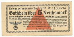 5 Reichsmark Lagergeld Camp Money Prisoner Of War WWII - [ 4] 1933-1945 : Tercer Reich