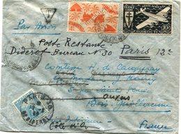 COTE FRANCAISE DES SOMALIS LETTRE PAR AVION DEPART DJIBOUTI ? JUIL 46 POUR LA FRANCE REEXPEDIEE ET TAXEE EN POSTE....... - Côte Française Des Somalis (1894-1967)