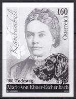 Black Print, Austria 2016' Writer Marie Von Ebner-Eschenbach (1830–1916) Death 100th Anniversary, Dog, écrivain, Chien - Cani