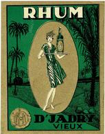 Antique Label 1930 - RHUM D' JADRY Vieux - Houssin Malisse Kuurne - 12,5 X9,5 Cm - Groen - Rhum