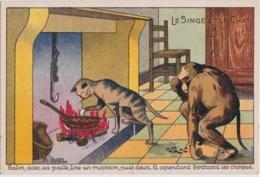 Bv - Cpa Illustrée WAL - Le Singe Et Le Chat - Raton Avec Sa Patte, .... - Altre Illustrazioni