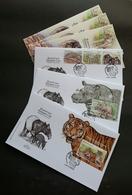 Malaysia Wildlife Conservation 2019 Tiger Rhino Wild Animals Fauna (FDC) *metallic *odd Shape *unusual - Malaysia (1964-...)