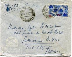 COTE FRANCAISE DES SOMALIS LETTRE PAR AVION DEPART DJIBOUTI 10 SEP 47 POUR LA FRANCE (voir Au Verso) - Côte Française Des Somalis (1894-1967)