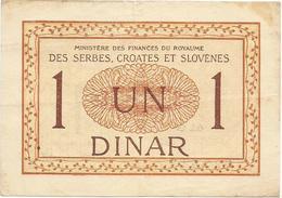 YUGOSLAVIA 1 DINAR  1919.  P-12 - Yougoslavie