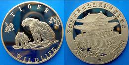KOREA 20 W 2007 BRASS PROOF ANIMAL OF KOREA WILDLIFE TIGER PESO 26,20g CONSERVAZIONE FONDO SPECCHIO UNC. - Corea Del Nord