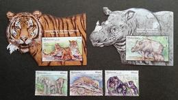 Malaysia Wildlife Conservation 2019 Tiger Rhino Bear Elephant Fauna (stamp + Ms) MNH *metallic *odd Shape *unusual - Malaysia (1964-...)