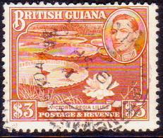 BRITISH GUIANA 1946 SG 319a $3 Used Perf. 12½ CV £32 Bright Red-brown - British Guiana (...-1966)