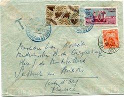 COTE FRANCAISE DES SOMALIS LETTRE DJIBOUTI 21 JAN 49 TAXEE A L'ARRIVEE A SEMUR EN AUXOIS LE 28-1-1949 COTE D'OR - Côte Française Des Somalis (1894-1967)