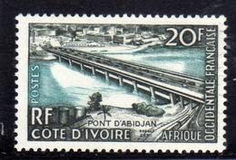 IVORY COAST COSTA D'AVORIO COTE D'IVOIRE 1958 PONT D'ABIDJAN BRIDGE 20f MNH - Costa D'Avorio (1960-...)