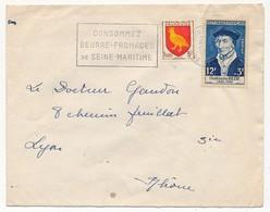 Enveloppe Affr. Composé (Guillaume Budé, Blason Aunis) OMEC Rouen 1956 - France