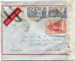 COTE FRANCAISE DES SOMALIS LETTRE PAR AVION CENSUREE DEPART DJIBOUTI 1 DEC 39 POUR LA FRANCE - Lettres & Documents