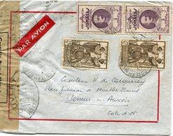 COTE FRANCAISE DES SOMALIS LETTRE PAR AVION CENSUREE DEPART DJIBOUTI 8 AVR 40 POUR LA FRANCE - Lettres & Documents