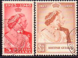BRITISH GUIANA 1948 SG 322-23 Compl.set Used Royal Silver Wedding CV £28.40 - British Guiana (...-1966)