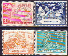 BRITISH GUIANA 1949 SG 324-27 Compl.set Used UPU Small Teeth Faults On 12c - Guyane Britannique (...-1966)