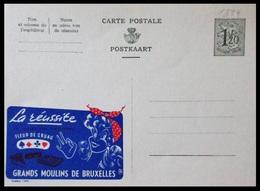BELGIQUE ENTIER CP PUBLIBEL N° 1394. LA REUSSITE . FLEUR DE CRUAU. GRANDS MOULINS DE BRUXELLES  . NEUF - Stamped Stationery