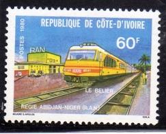 IVORY COAST COSTA D'AVORIO COTE D'IVOIRE 1980 LE BELIER LOCOMOTIVE TRAIN 60f MNH - Costa D'Avorio (1960-...)