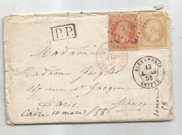 -BFE EGYPTE - ALEXANDRIE - PC.3704 S/TPND N°13 Citron + N°16 + P.P. Noir+Càd T.15 -1858 - 1853-1860 Napoleone III
