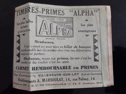 CARNET TIMBRES PRIMES ALPHA VILLENEUVE SUR LOT NOMBREUX TIMBRES BOUCHER MODE CHAPELIER TIMBRE PRIME EPICERIE - Advertising