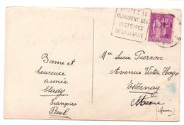 DAGUIN à Texte, 2 Chiffres: «VISITEZ LE MONUMENT DES VICTOIRES DE LA MARNE» Sur CPA DE 1938 - Marcophilie (Lettres)