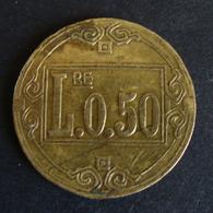 0,50 Lire  Raro   Gettone Token  Usato Nelle Case Chiuse Di Tolleranza - Italy