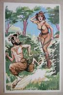 Humour Signé Illustrateur - Pin'Up à La CHASSE Et PAN (Demi-animal De La Mythologie Grecque) - Photochrom - Humour