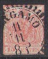Lombardo-Venetia 1854: 15 Cmi Rosso Michel-No. 3 Y Con O Di BERGAMO - Lombardo-Veneto