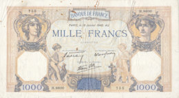 Billet 1000 F Cérès Et Mercure Du 18 Janvier 1940 FAY 38.41 Alph. H.8600 - 1871-1952 Circulated During XXth