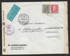 Denmark Copenhagen 1945 Airmail Cover > ZENSUR Schweiz  Censored Lettre Brief  WW2  Great Britain Censorship - 1913-47 (Christian X)