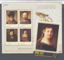 PAINTINGS - PALAU - 2006 - REMBRANDT SHEETLET OF 4 + SOUVENIR SHEET MINT NEVED HINGED SG £18+ - Rembrandt