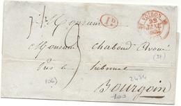 Isère - Voiron Pour Bourgoin. CàD Type 12 Rouge + 1d Rouge. 1834 - Marcofilie (Brieven)