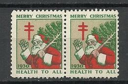 USA 1930 Christmas Weihnachten Noel As Pair MNH - Weihnachten