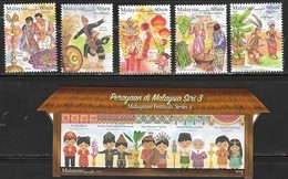 MALAYSIA, 2019, MNH, FESTIVALS, CULTURES, COSTUMES, FRUIT, GRAIN, LANTERNS, DRAGONS, 5v+GLITTER-COATED S/SHEET - Other