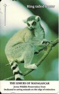 CARTE-MAGNETIQUE-JERSEY-2£-LEMURIEN QUEUE  ANNEAUX-Fondation JERSEY WILDLIFE -TBE - Jungle