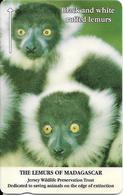 CARTE-MAGNETIQUE-JERSEY-2£-LEMURIEN  BLACK And  WHITE RUFFED-Fondation JERSEY WILDLIFE -TBE - Jungle