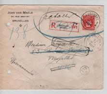 SJ154/ TP 212 S/L.Recommandée C.BXL 27/3/1924 > E/V Griffe Retour,écrit Parti Sans Adresse Signé +vignette Armes - Belgio
