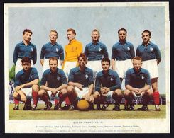 FRENCH National TEAM B 1951 Squad Football Players RUMINSKI, PIANTONI, STRICANNE, RODRIGUEZ France. Poster Photogravure - Calcio