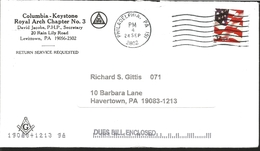 J) 2002 UNITED STATES, FLAG, MASONIC GRAND LODGE, CIRCULATED COVER, FROM PHILADELPHIA TO HAVERTOWN, FDC - United States