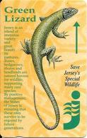 CARTE-MAGNETIQUE-JERSEY--5£-LEZARD VERT-TBE - Télécartes
