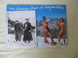 CPM Humour Pin Up Les Skieuses D' Hier Et D' Aujourd'hui - Femmes à Ski Seins Nus - Neuve As De Coeur - Pin-Ups