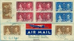1938   BERMUDA , SOBRE CERTIFICADO , HAMILTON - TILLSONBURG ( ONTARIO ) , TRÁNSITOS BUFFALO , LONDON , FT. ERIE , LLEGAD - Bermudas