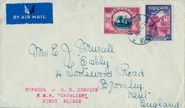"1937   BERMUDA , HAMILTON - KENT , U.S. SERVICE / R.M.A. "" CAVALIER "" , FIRST FLIGHT , PRIMER VUELO - Bermudas"