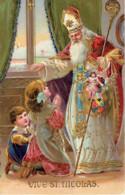 Fantaisie Vive Saint Nicolas Fillette Garconnet  Hotte Jouets Enluminer 1908 - Nikolaus